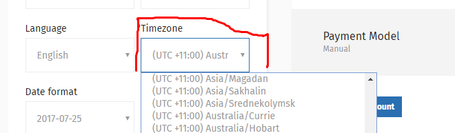 gramto Timezone settings