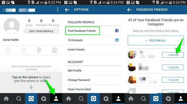 How to find someone on Instagram using Facebook Contact