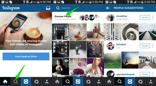 How to find someone on Instagram using suggested people